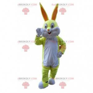 Mascote coelho amarelo e branco, fantasia de Pernalonga -