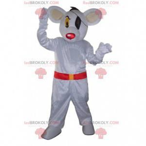 Biała mysz maskotka przebrana za pirata, kostium pirata -