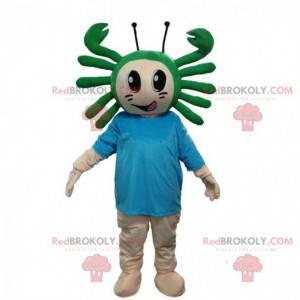 Menino mascote com um caranguejo na cabeça, fantasia de mar -
