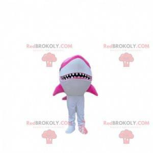 Maskot bílého a růžového žraloka, kostým obrovského žraloka -