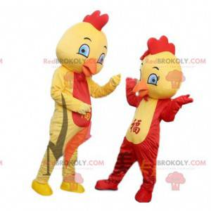 Mascot yellow and red chickens, colorful bird costume -