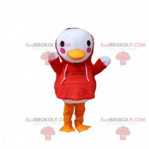 Weißes Vogelmaskottchen mit einem roten Sweatshirt, Entenkostüm