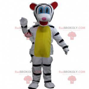 Hvit og svart tigermaskot, felint kostyme, gigantisk tiger -