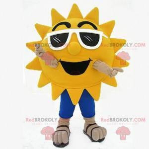 Sluneční maskot s tmavými brýlemi, sluneční kostým -