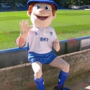 Policeman boy mascot in blue and white outfit - Redbrokoly.com