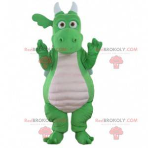 Green and white dragon mascot, giant dinosaur costume -