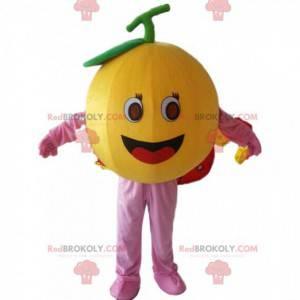 Giant orange mascot, round fruit costume, citrus -