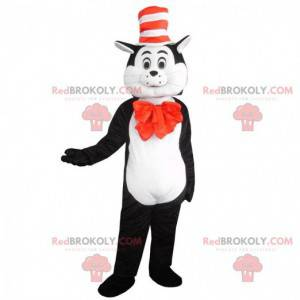 Mascota gato blanco y negro con sombrero, disfraz de gato -