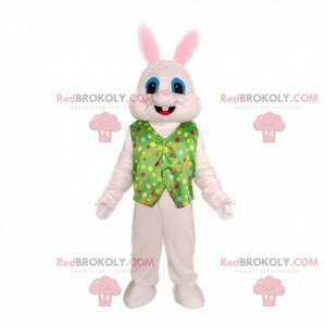 Maskot bílého králíka s vestou, slavnostní kostým králíka -