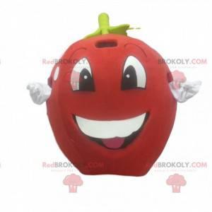 Maskott rødt eple, gigant, kirsebærdrakt, gigantisk frukt -