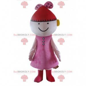 Puppenmaskottchen, rosa Puppenkostüm mit rotem Hut -