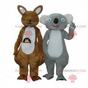 2 mascotes, um canguru marrom e um coala cinza e branco -