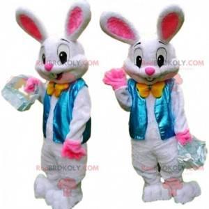 Elegant kaninmaskott med blå vest, påskehare - Redbrokoly.com