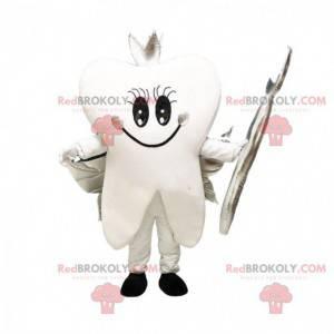 Maskot bílý zub se stříbrnými křídly, obří zub - Redbrokoly.com