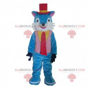 Sehr elegantes blau-weißes Fuchsmaskottchen, bunter Fuchs -