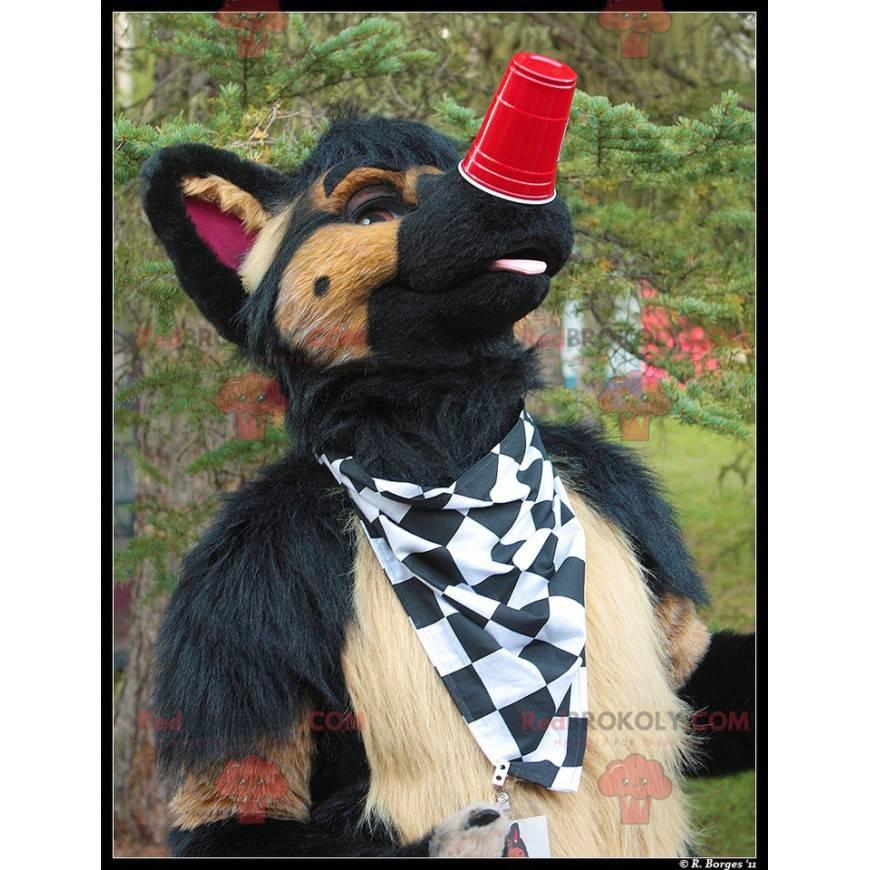Braunes und schwarzes Hundemaskottchen - Redbrokoly.com