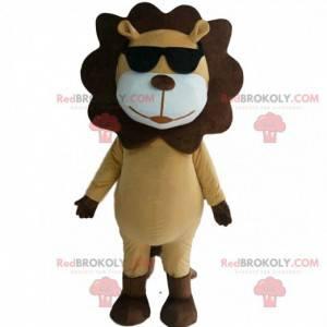 Béžový a hnědý maskot lva se slunečními brýlemi - Redbrokoly.com