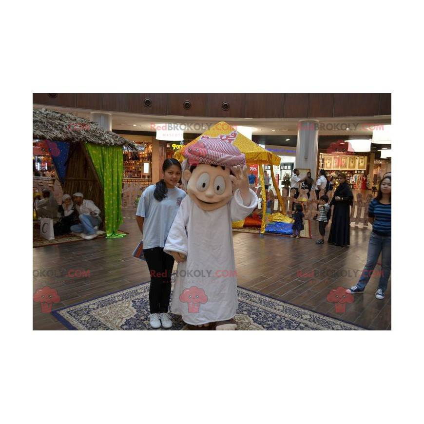 Sultan mascot in white outfit - Redbrokoly.com