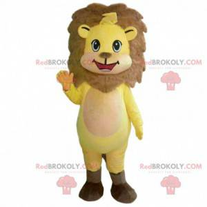 Mascot yellow and brown lion cub, little lion costume -