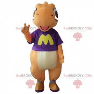 Orange and white dinosaur mascot, colorful dragon costume -