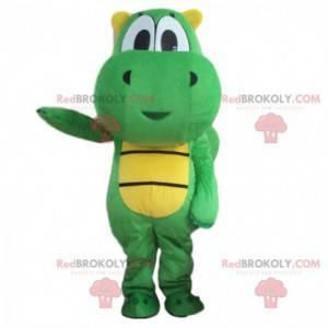 Zelený a žlutý drak maskot, zelený kostým dinosaura -