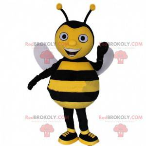 Yellow and black bee mascot, smiling wasp costume -