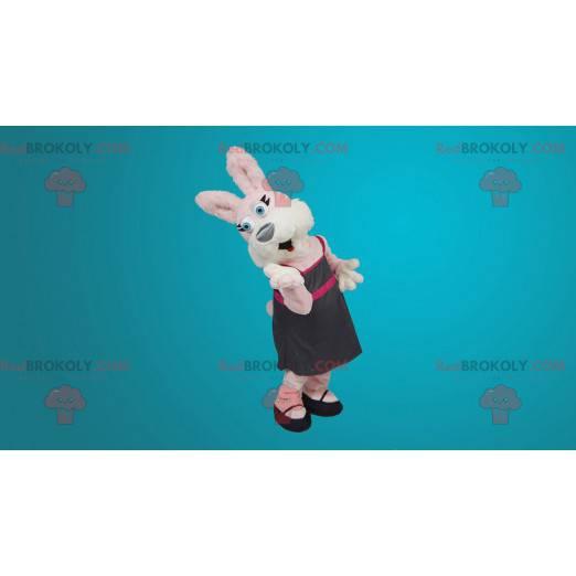 Rosa und weißes Kaninchenmaskottchen - Redbrokoly.com