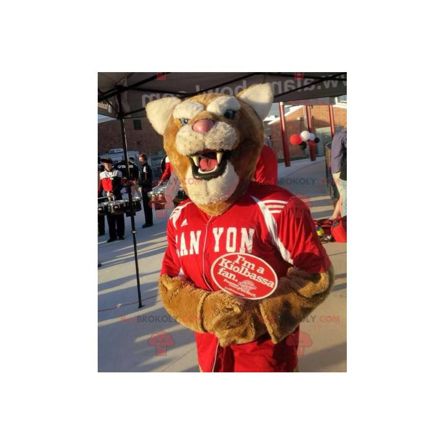 Brown and white tiger mascot in red sportswear - Redbrokoly.com