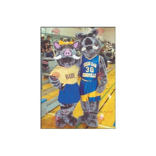 2 wild pig boar mascots - Redbrokoly.com