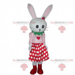 Biały królik maskotka ze spódniczką w groszki, pluszowy królik