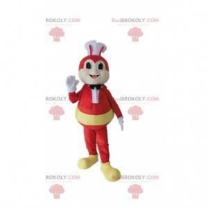 Maskot červené včely s kuchařskou čepicí, včelí kostým -