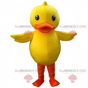 Duża żółto-pomarańczowa maskotka kaczka, kostium kanarka -