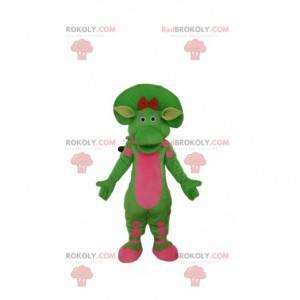 Zielona i różowa maskotka dinozaura, prehistoryczny kostium -