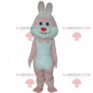 Růžový a bílý králík maskot, obří kostým králíka -