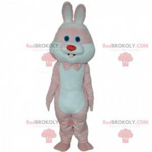 Rosa og hvit kanin maskot, gigantisk kanin kostyme -