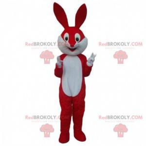 Czerwono-biały królik maskotka, gigantyczny kostium królika -