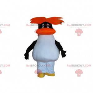Maskot černobílý tučňák s oranžovými vlasy - Redbrokoly.com