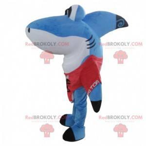 Great blue and white shark mascot, fun shark costume -