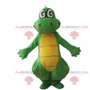 Zelený a žlutý drak maskot, obří kostým dinosaura -