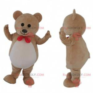 Very cute brown bear mascot, beige teddy bear costume -