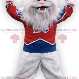 Hairy white monster white yeti mascot - Redbrokoly.com