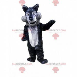 Gray and black wolf mascot, wolf costume, wild animal -