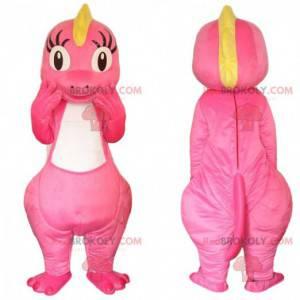 Rosa und gelbes Dinosauriermaskottchen, rosa Drachenkostüm -