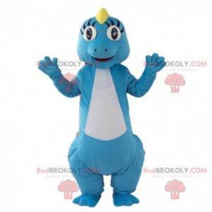 Niebiesko-biała maskotka dinozaura, kolorowy kostium smoka -