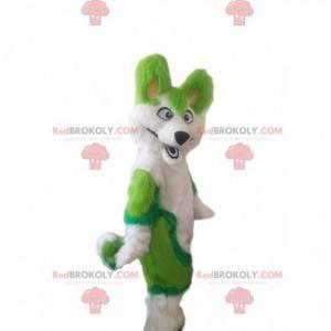 White and green husky dog mascot, hairy fox costume -