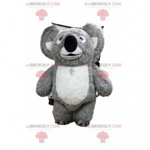 Mascotte koala grigio e bianco, costume Austalia -