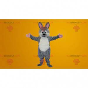 Gray and white rabbit mascot - Redbrokoly.com