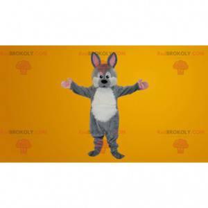 Mascotte coniglio grigio e bianco - Redbrokoly.com