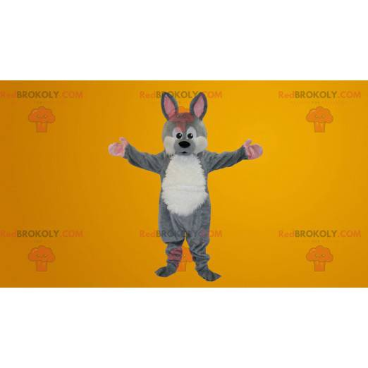Grå og hvit kaninmaskot - Redbrokoly.com