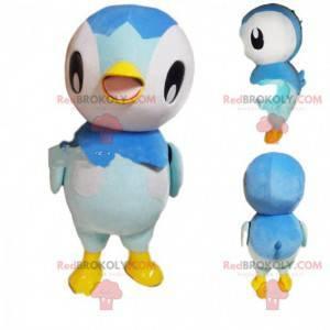 Maskot bílý, šedý a modrý tučňák, velký ptačí kostým -